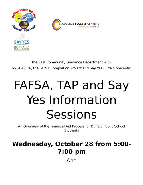 FAFSA, TAP and Say Yes Information Session