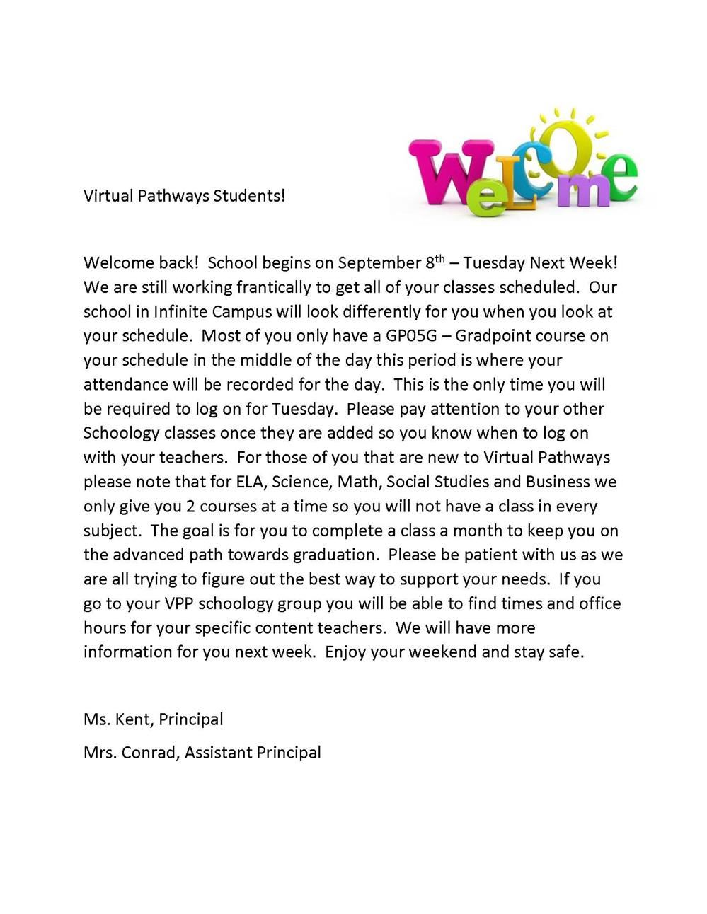 Virtual Pathways Welcome Letter