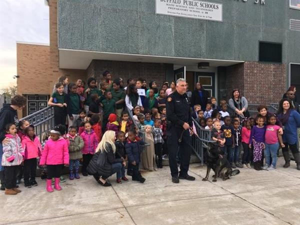 students with a K9