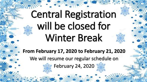 Central Reg is closed for winter break