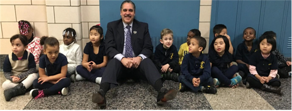 Superintendent with kids