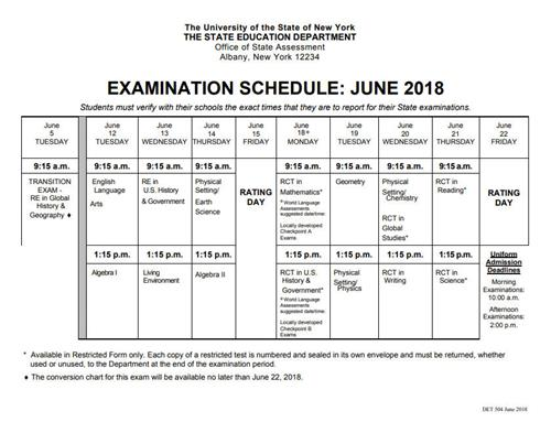 Guidance New York State Regents Examination Schedules