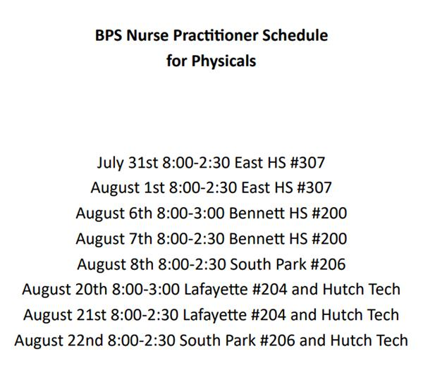 Nurse Practitioners Schedule