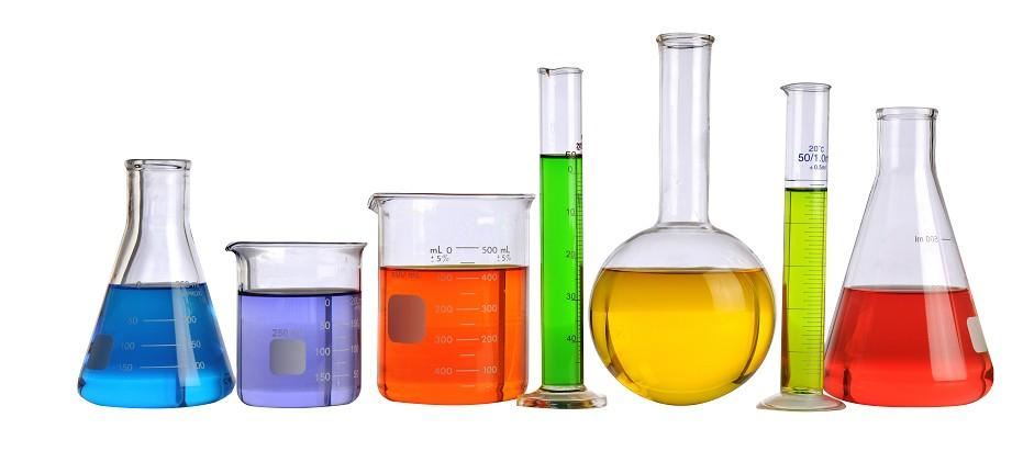 Beakers filled with colored liquids