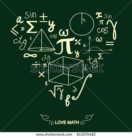 "Math symbols in the shape of a heart.  ""Love Math"""