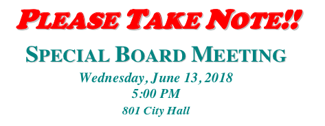 Special Meeting on June 13th at 5:00