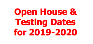 Open House and Testing Dates for the 2019-2020 School Year