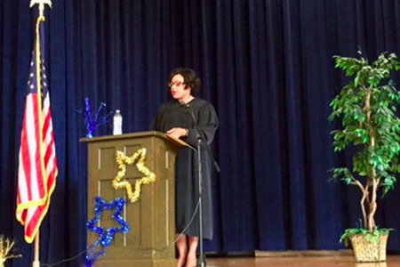 Judge Debra Givens Speaks at the 4th Grade Moving Up Day at #61