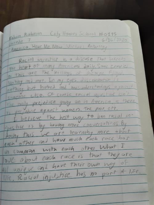 Student reflective writing